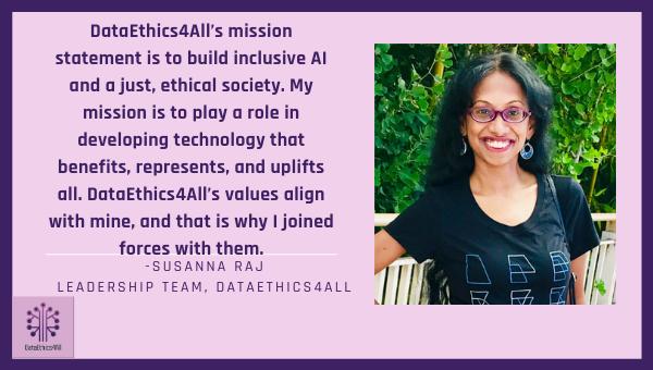 Susanna Raj DataEthics4All Leadership Team Testimonial