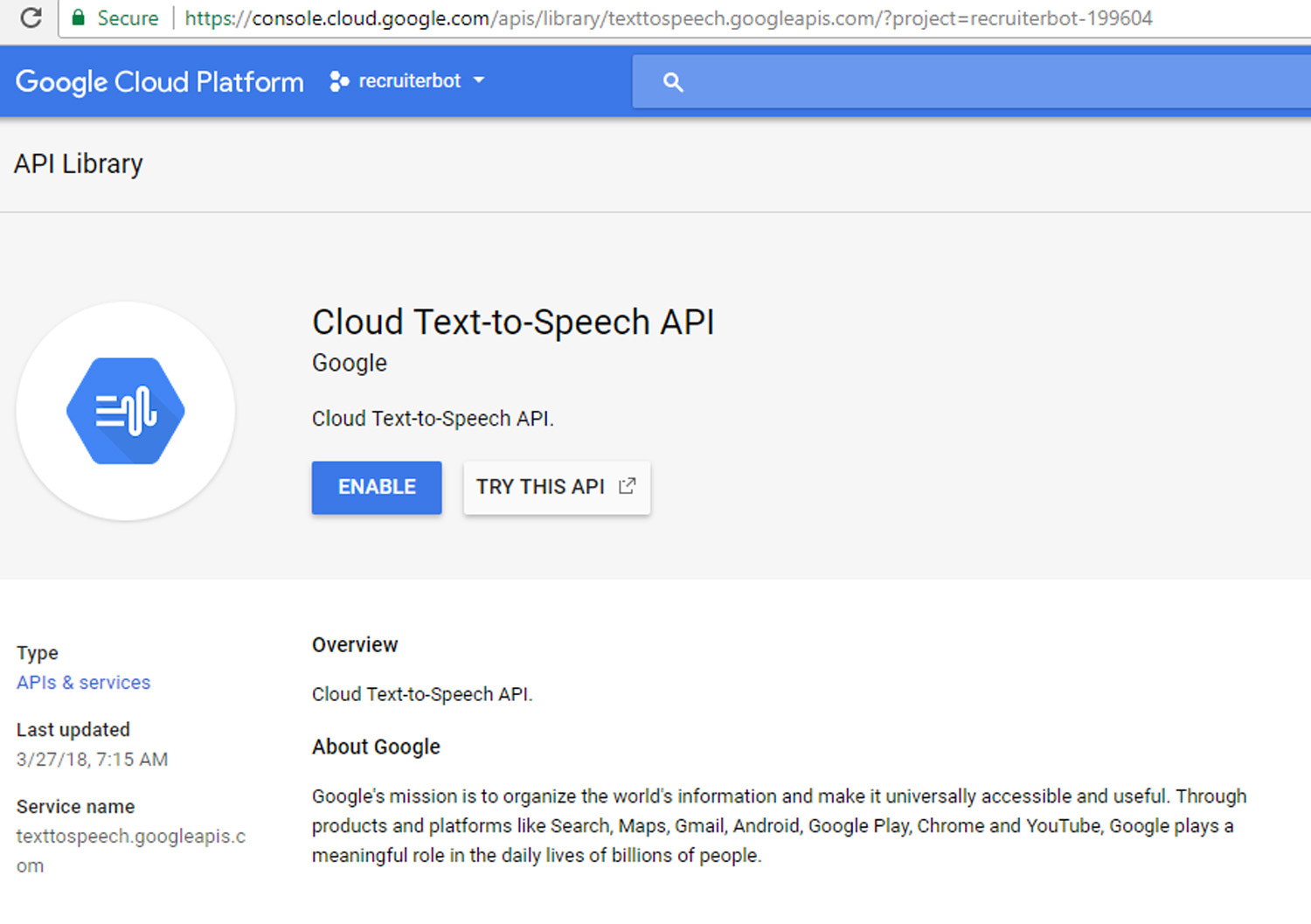 Google Cloud Text to Speech Product Screenshot 2 DataEthics4All AI Society